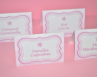 1st Birthday Party Food Label Cards, Buffet Labels, Placecards, Snowflake First Birthday, Winter One-derland - Set of 12