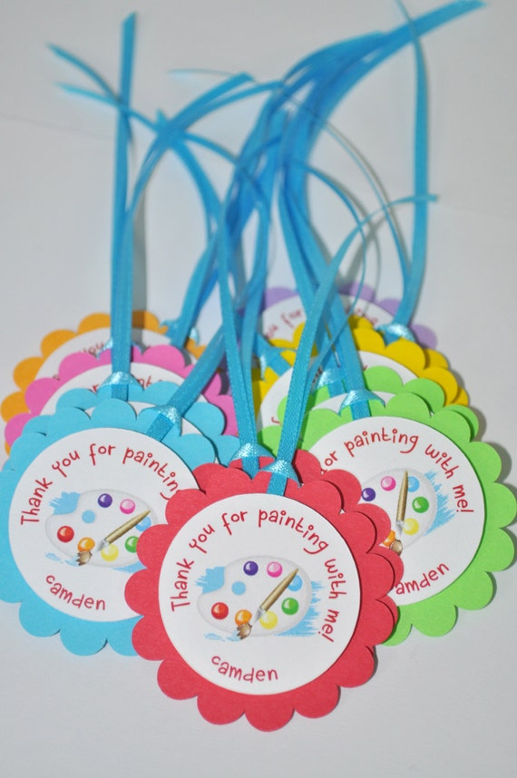 Artist Birthday Party Favor Tags Thank You Party Favors