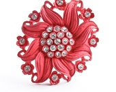 SALE - Vintage Red Flower Rhinestone Brooch -  Early Molded Plastic Pin Costume Jewelry /  Art Nouveau Floral Vibrancy