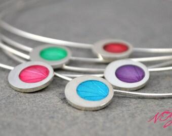 Handmade sterling silver pendant with coloured enamel resin,