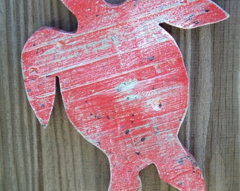 Rustic Beach Decor, Wooden Sea Turtles, Up Cycled Weathered Fence Wood,