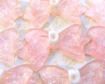 20x 34mm Resin Peachy Pink Translucent Glitter Bow Cabochons