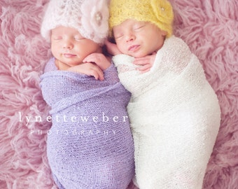 Twin Photo Prop - Newborn Photo Prop - Crochet Twin Hats - Newborn Twin Girl Hats - Pink and Yellow Baby Hat - Baby Girl Twin Hat - Twin Set