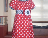 Patriot Peasant Red, White and Blue Dress, Size 3-4, 5-6, 7-8, and 9-10