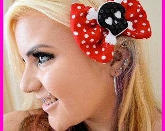 Skull - Big Bow - Red Polka Dot - Hair Bow - Clip