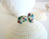 Vintage Purple and Blue Flower post earrings - Vintage Japanese cabochon earrings
