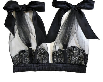 BELLE Black Grecian Tulle Bra with silk satin Bows - Black sleepwear lingerie, holidays gift for her