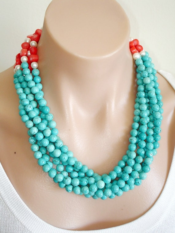 Ashira Dramatic Show Piece Runway Wedding - Statement Necklace, Tangerine Pink Coral, Fresh Water Pearls and Turquoise - Large Focal Clasp