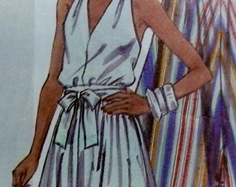 Halter Dress Pattern McCalls 2028 Sundress w Front Ties SIze 12 Bust 34