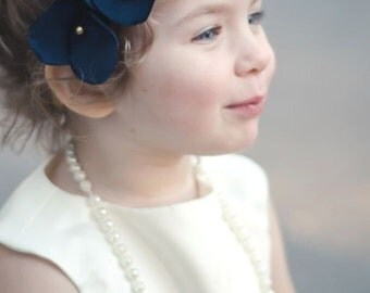 Girls Headband--Navy and Gold or Silver--Design Your Own--Weddings--Flower Girl--Portraits