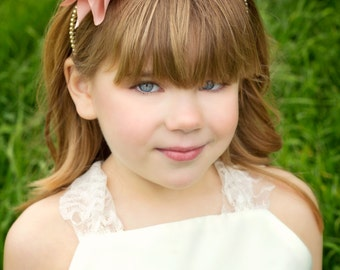 Blush Pink Headband--Pearls--Flower Girl, Pageants, Portraits---Perfect for WEDDINGS