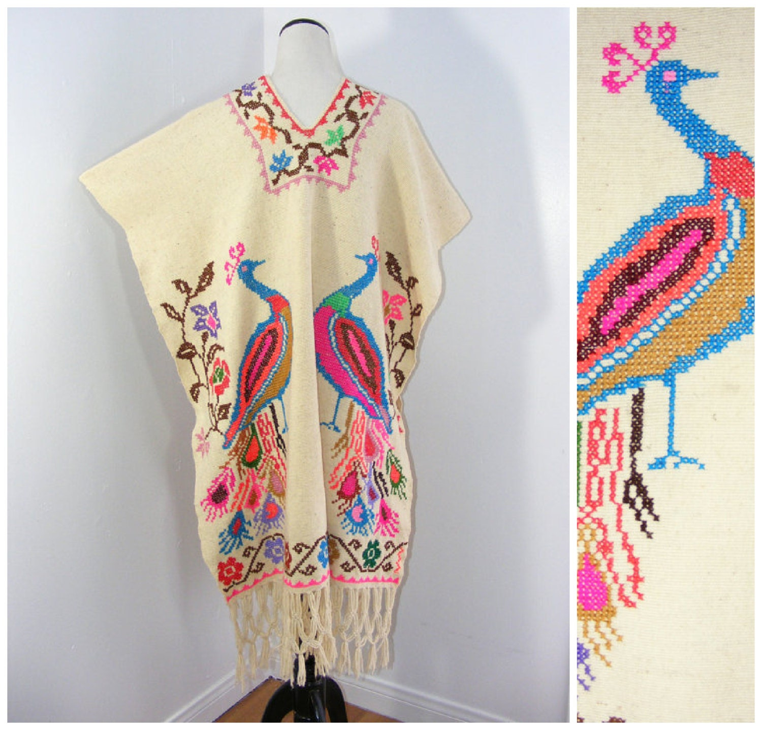 Vintage s mexican embroidered peacock fringe poncho