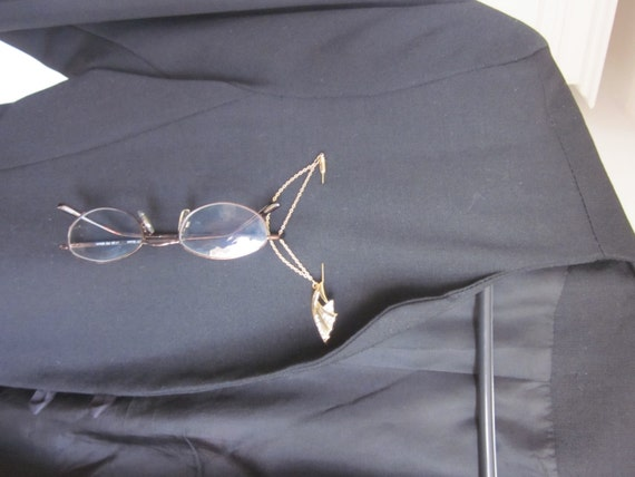 Vintage Eyeglass Stick Pin Holder Brooch Broach With Chain