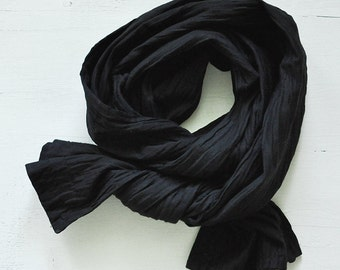 """Pack of TWO Beautiful Pleated Scarves  29"""" x 14"""". One black, one cream/ivory."""