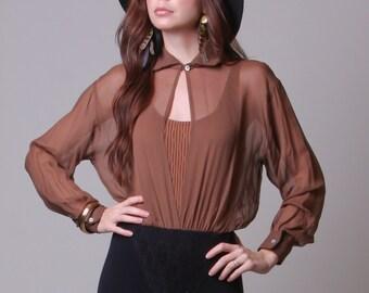 Small - Vintage Bodysuit - A'nue Ligne Designer Blouse - One Piece Lace Bottom Chiffon Blouse