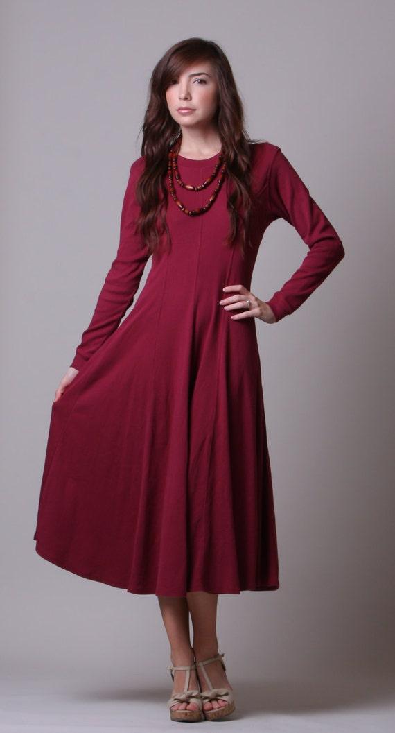 90s Dress Maroon Long Sleeved Dress Vintage T Shirt Dress