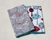 Bicycles, Birds, and Mod Trees double-sided Flannel Towels Cloth Diaper Aqua Red Burgundy Teal
