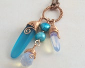 Talisman Necklace Cultured Sea Glass Sea Opal and Pearl
