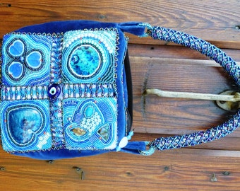 Blue bead embroidery patchwork bag