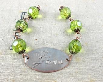Disneyland - TINKER BELL - Green Crystal Bracelet - Smashed Quarter  -  Limited Edition