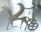 Vintage bronze sculpture Greek chariot horse and warrior