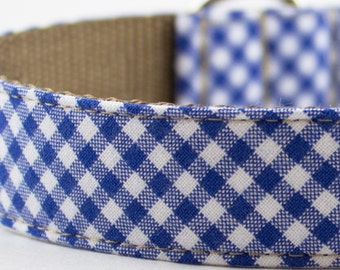 Royal Blue Gingham Dog Collar