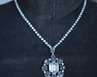 Necklace 30's Art Deco Czech Gray and Clear Rhinestones Pendant Wedding Bridal Necklace