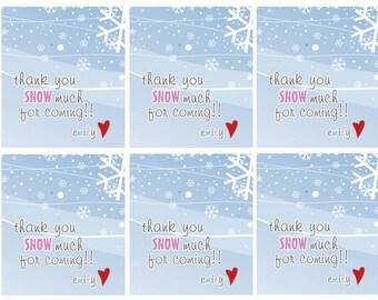 Winter wonderland labels, girl birthday favor labels, winter theme party favors, food labels, girl pink and brown labels, birthday favors
