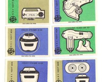 10 Vintage Matchbox Labels - Cute INDUSTRIAL Czech Label from matchbox - Set 19