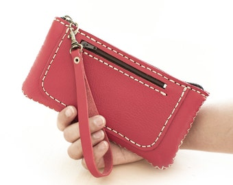 SALE, Zipper Leather Wristlet Pouch, Hand Sewn in Red
