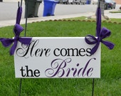 Wedding Signage, Here comes the bride sign, Purple, wedding sign, Ring Bearer, Flower Girl (2 Sided Sign)