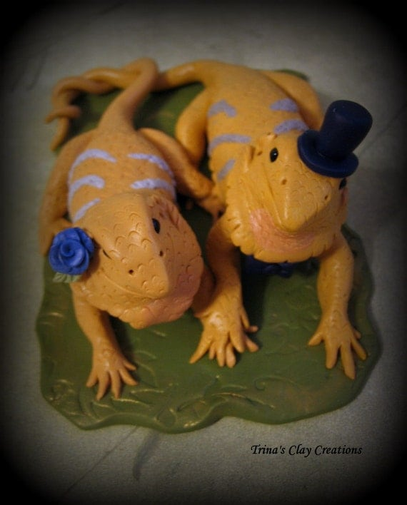 Wedding Cake Topper, Custom Cake Topper, Bearded Dragon Wedding Topper, Personalized, Polymer Clay, Keepsake