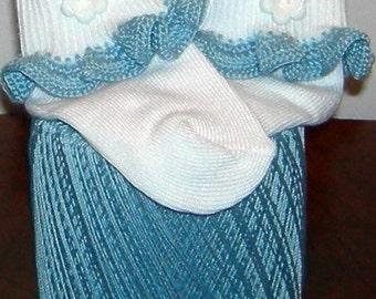 Infant Size 0-5 White Flower on Blue Crocheted Ruffle Trim Socks - 12-24 Months