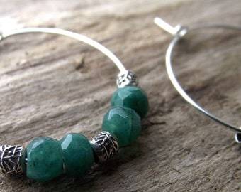 Emerald Hoops - Emerald Hoop Earrings - Silver Hoop Earrings - Hoop Earrings - Boho Earrings - May Birthstone