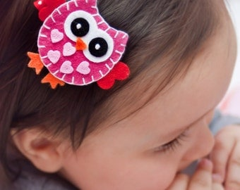 Heart Owl Hair Clip, Baby Hair Clippies, Girl Barrette, Owl Hair Clippie