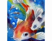 Koi Painting Fish Print 8x10 Watercolor Wall Art by Janet Zeh