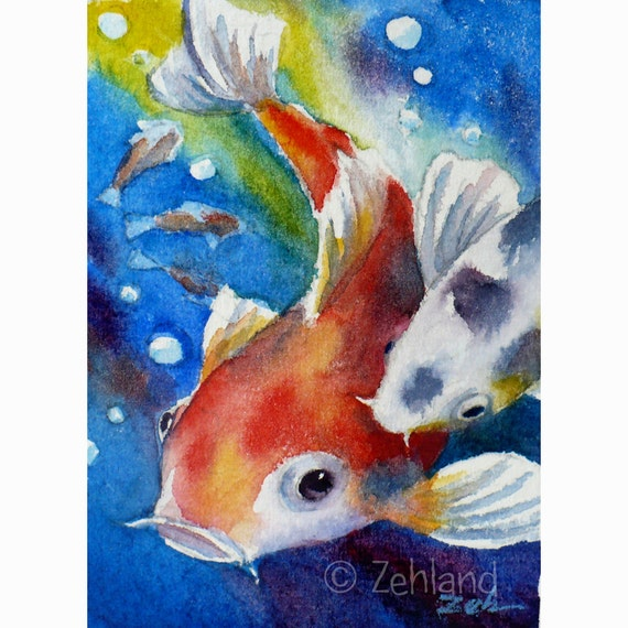 Koi painting fish print 8x10 watercolor wall art by janet zeh for Koi fish art print