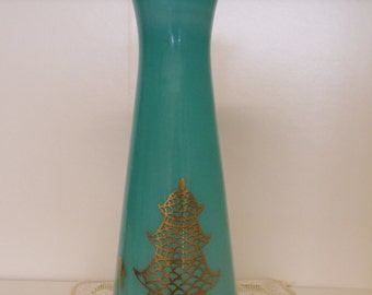 Aqua Vase with Pagoda