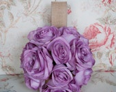Lavender Rose and Burlap Flower Girl Pomander
