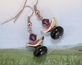 Unitarian Universalist Chalice Jewelry, UU Earrings with Purple Flame, Silver and Black Onyx