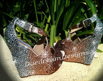 Custom Bling Ombre  Wedges-Any color, any style