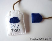 Tea bag felt bookmark - Rainy Day