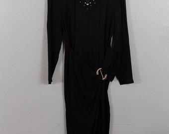 Vintage 80's 90's Black Gold Studded Belted Dress