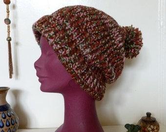 Knitted Pixie Bobble Beanie Hat Dread Tam, Saggy Baggy Beanie Hat