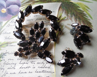 Juliana Black Rhinestone Circle Brooch & Earrings Set