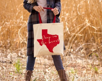 Deep In The Heart of Texas Canvas Tote Bag - Red Handle