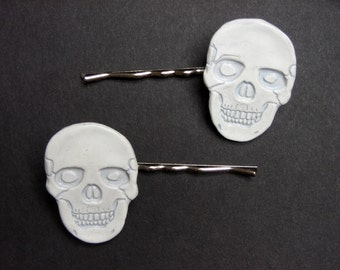 2 Pack White Skull Bobby Pin Hair Accessories