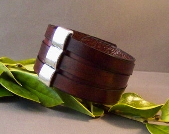 Vintage Leather Cuff with Silver Accented