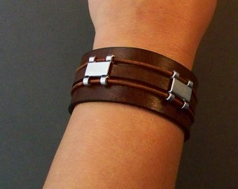 Brown Leather Cuff, Bracelet, Men's Leather Cuff, Women's Leather Cuff, Leather Wristband, Charm Bracelet, Leather Bangle, Boyfriend Gift