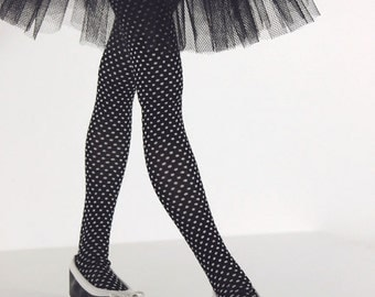 Black with white dots stockings for BJD